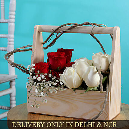 White And Red Roses Arrangement In Wooden Box