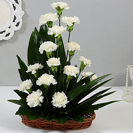 Online White Carnations Cane Basket:Flower Basket Arrangements