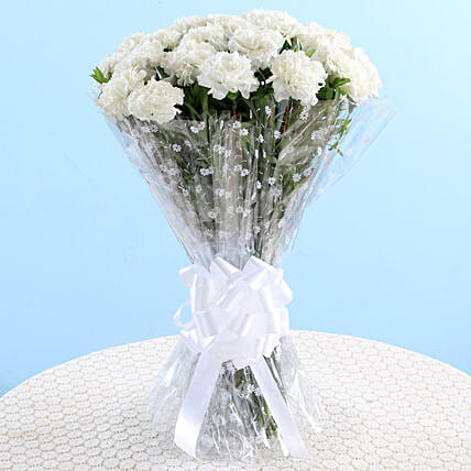 white carnation bouquet for girlfriend