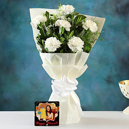 carnation bouquet with personalised diwali table top