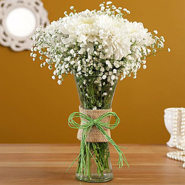 White Chrysanthemums Floral Vase