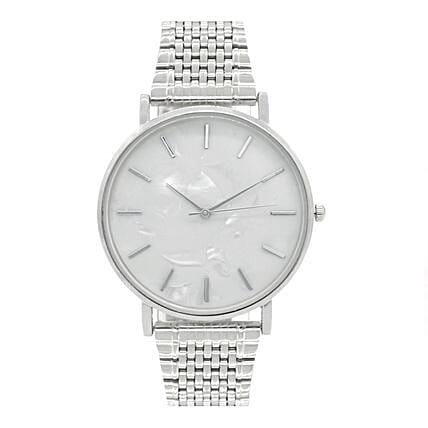 Online White Dial Silver Watch:Watches for Her