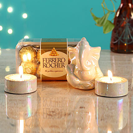 White Ganesha Idol & Candles With Ferrero Rocher