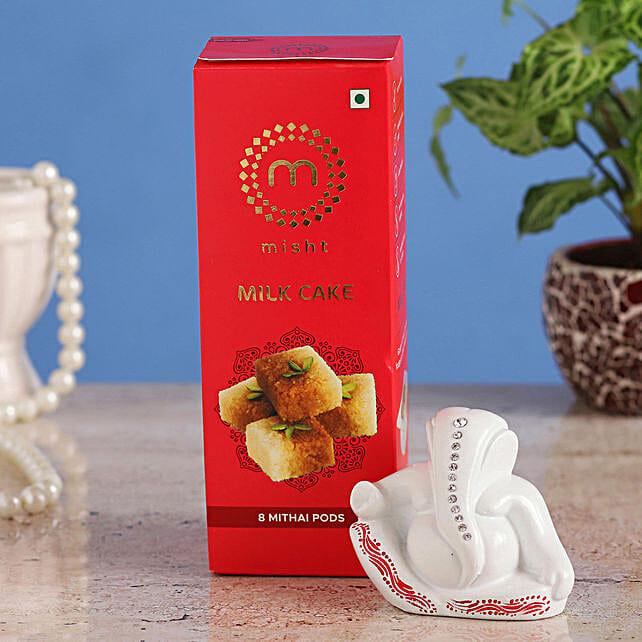 Online White Ganesha Idol & Misht Milk Cake