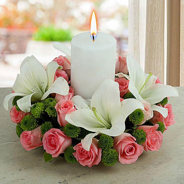Candle Flower Arrangement:Christmas Candles