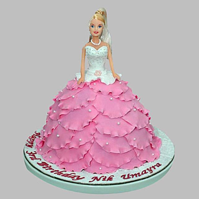 White N Pink Barbie Cake 2kg Eggless