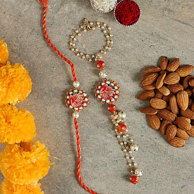 white n orange pearl lumba rakhi set:Bracelet Rakhi