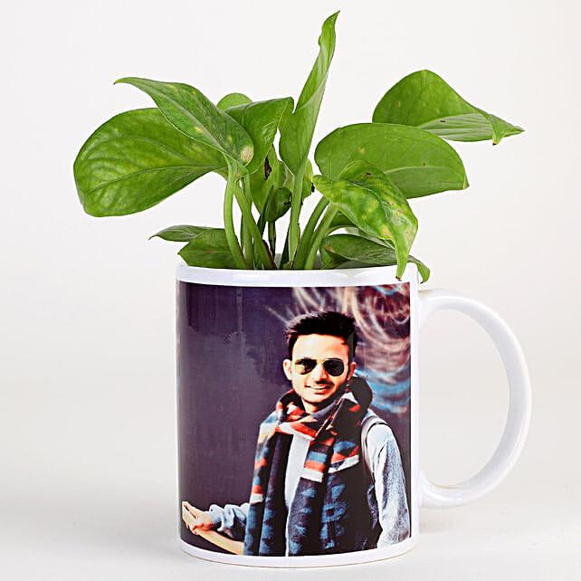 photo coffee mug with money plant:Personalised Pot plants