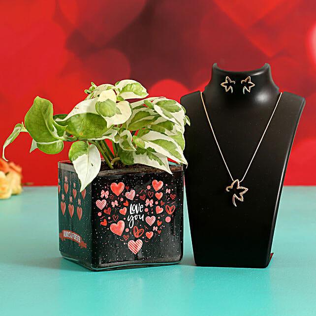 White Pothos In Sticker Vase Jewellery Set