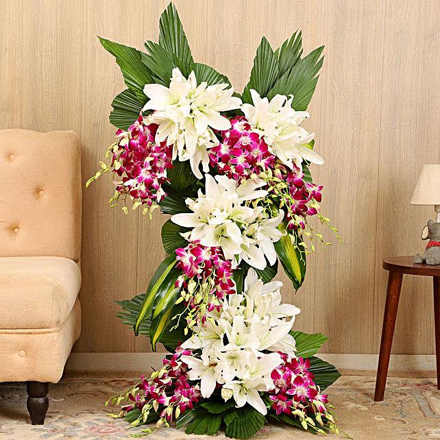 Online White Purple Flowers Arrangement