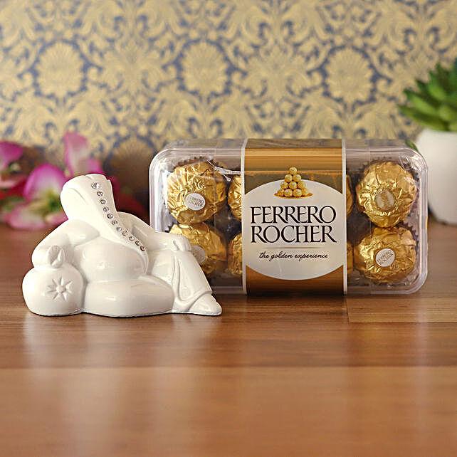 White Resting Ganesha Idol & Ferrero Rocher Combo:Send Diwali Gifts for Friends