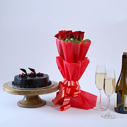 Will You Be Mine - Bunch of 6 Red Roses:Flowers & Cakes For Valentines Day