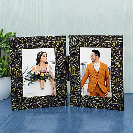 WISHTANK Floral Hand Painted Dual Photo Frame