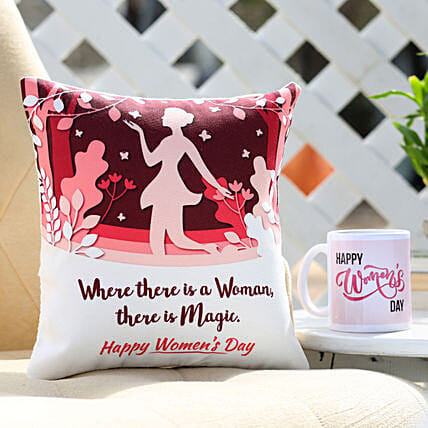 Women's Day Cushion and Mug Combo
