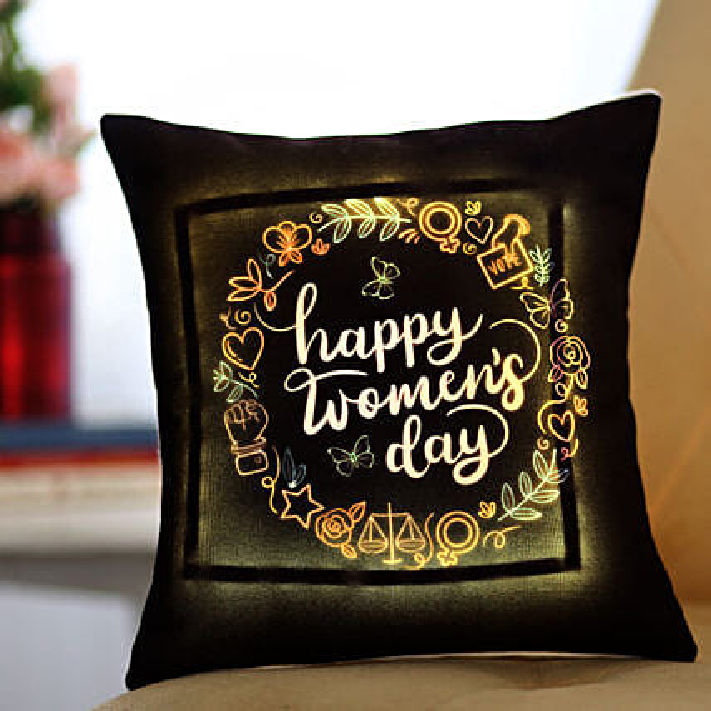 Happy Women's Day LED Cushion Online