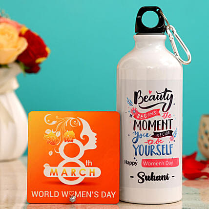 Women s Day Personalised Water Bottle Table Top Hand Delivery