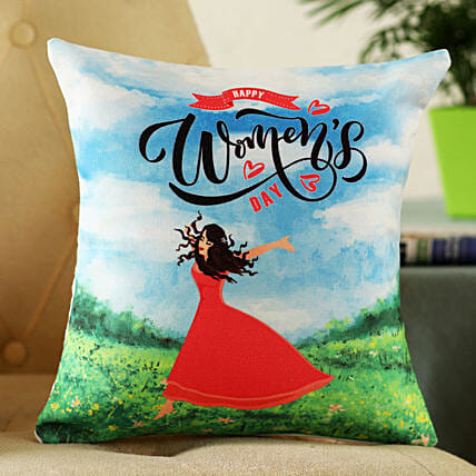 printed womens day greeting cushion online