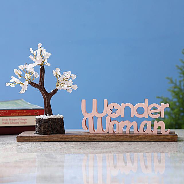 Wonder Woman Table Top and Rose Quartz Wish Tree:Send Wish Trees