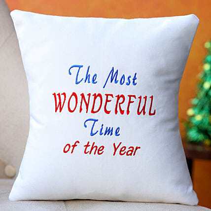 Wonderful Time Embroidered Cushion