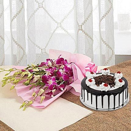 Wondrous Wishes For You - Bunch of 6 purple Orchids and 1 kg Blackforest Cake.:Gifts for 10Th Anniversary