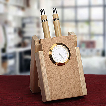 Wooden pen holder with clock:Gifts for Employees