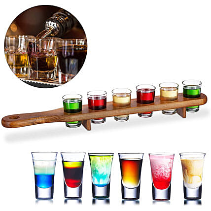 Wooden 6 Shot Glass Holder Paddle Plate