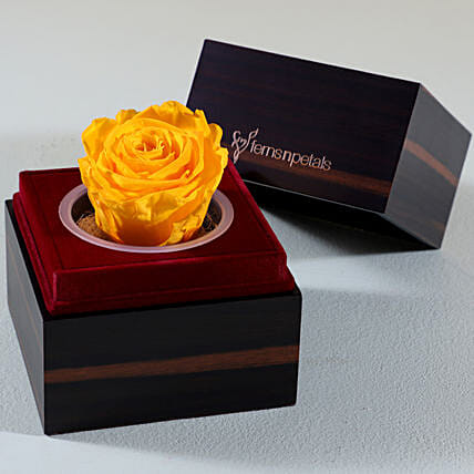 romantic infinity rose with wooden case:Valentine Flowers Agartala