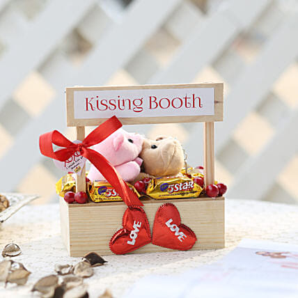 Wooden Kissing Booth With Chocolates:Gift Combos for Wife
