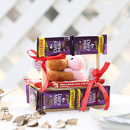 Wooden Kissing Booth With Dairy Milk Chocolates:Send Valentines Day Soft toys