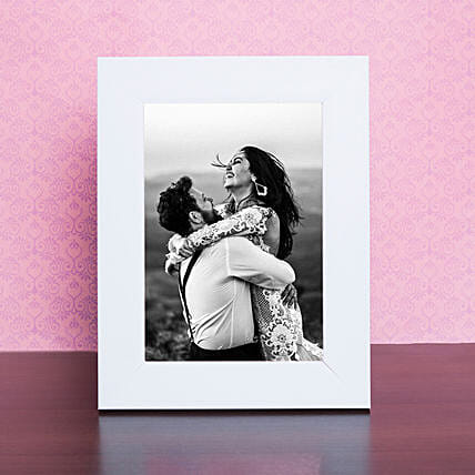 Wooden White Table Top Photo Frame