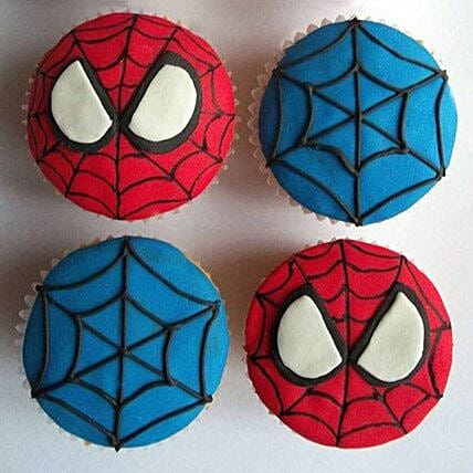 Spiderman Cute Semi fondant cupcake 6:Cupcakes