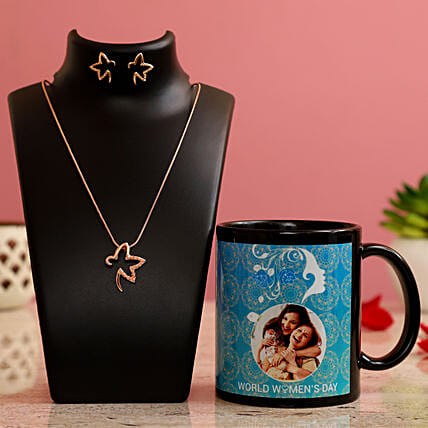 World Women s Day Personalised Mug Necklace Set Hand Delivery
