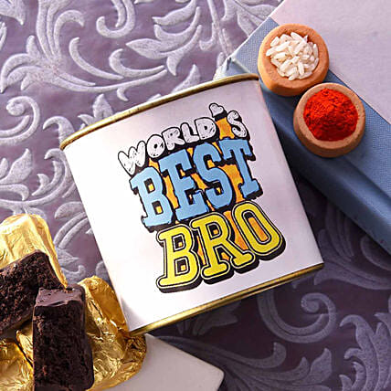 World's Best Bro Chocolate Brownie Tin With Roli & Chawal:Brownies