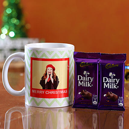 christmas theme mug with chocolates for her