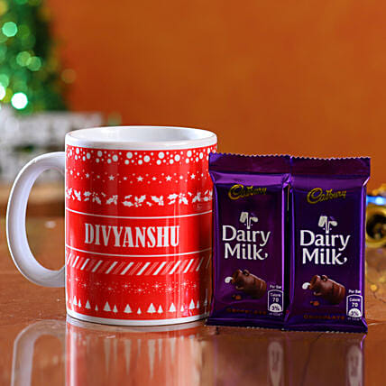 christmas theme mug with chocolates for him
