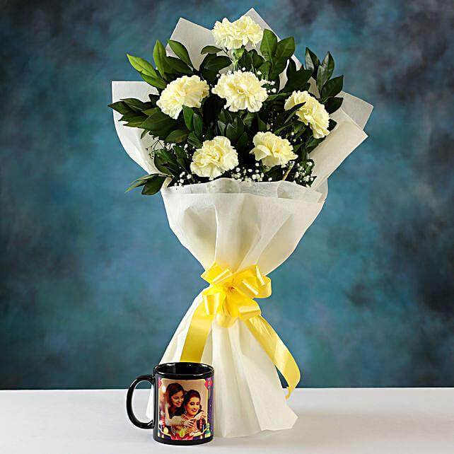 white carnations n personalised mug for diwali