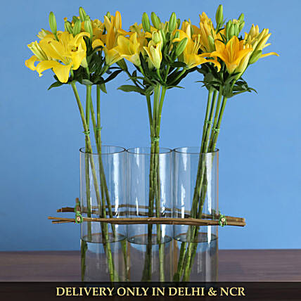 premium flower with cylinder vase:Yellow Flowers