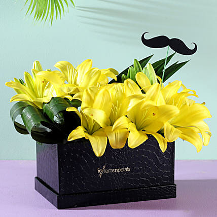 yellow lilies flower box arrangement online:Flowers for Janmashtami