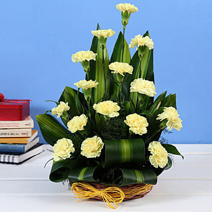 Yellow Carnations Cane Basket Online:Yellow Flowers
