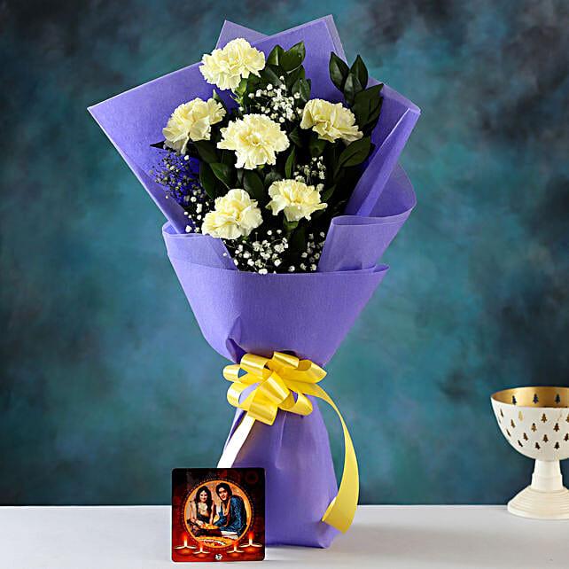 yellow carnations n personalised diwali  cushion