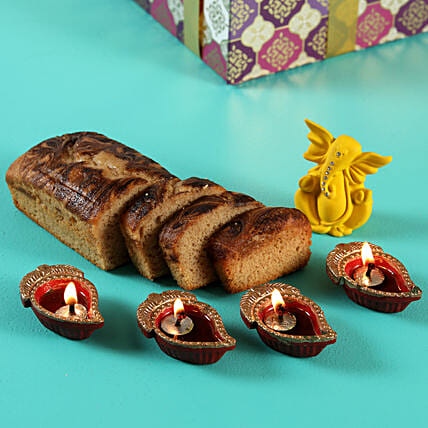 Ganesha With Diyas and Chocolate Marble Dry Cake- Gluten Free