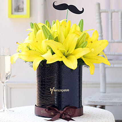 Yellow Lilies Box Online for Him:Flowers for Janmashtami