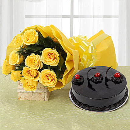Yellow Roses & Cake - Bouquet of 10 yellow roses and 500 grams of  truffle cake.