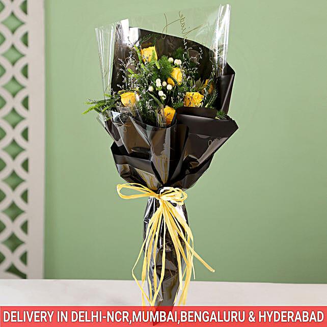 yellow roses in designer wrap paper online