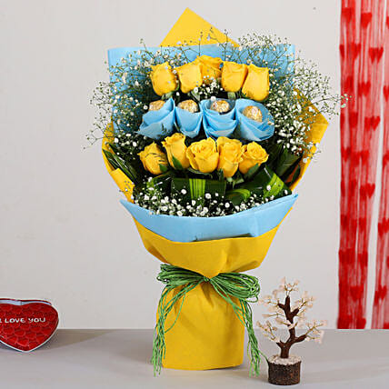 Yellow Roses Bouquet With Rose Quartz Wish Tree:Send Congratulations Flowers
