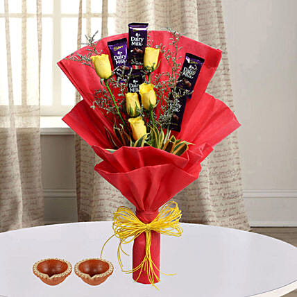 roses n chocolate bouquet for diwali celebration