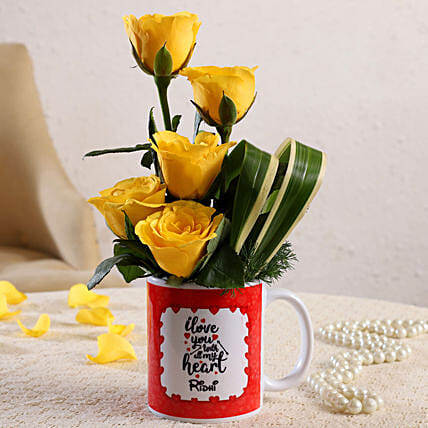 Yellow Roses In Personalised Love You V-Day Mug