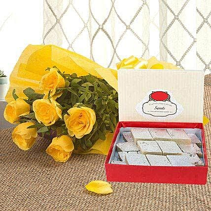 Yellow Roses N Kaju Katli - Bunch of 6 Yellow Roses with Kaju Katli 500gms.:Flower N Sweets