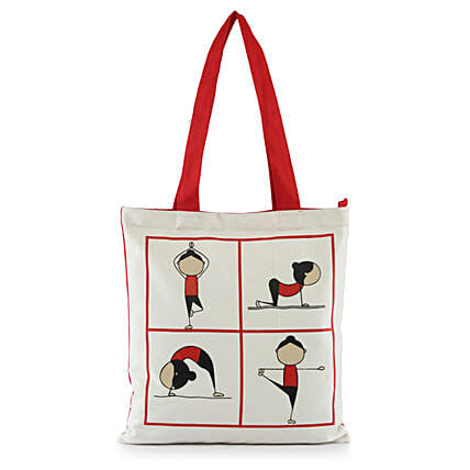 Yoga Pose Printed Solid Tote-White