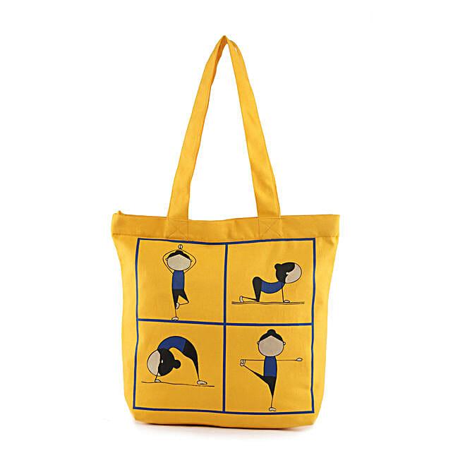 Yoga Pose Printed Solid Tote-Yellow